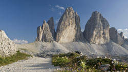 The 'Drei Zinnen' peaks in the Sexten Dolomites