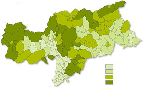 Amount of livestock farms in South Tyrol